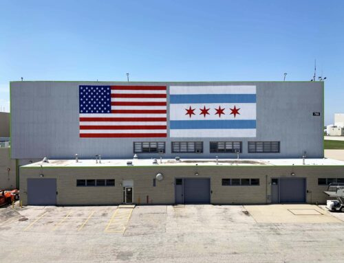 Chicago Flag Murals at O'Hare Airport Runway