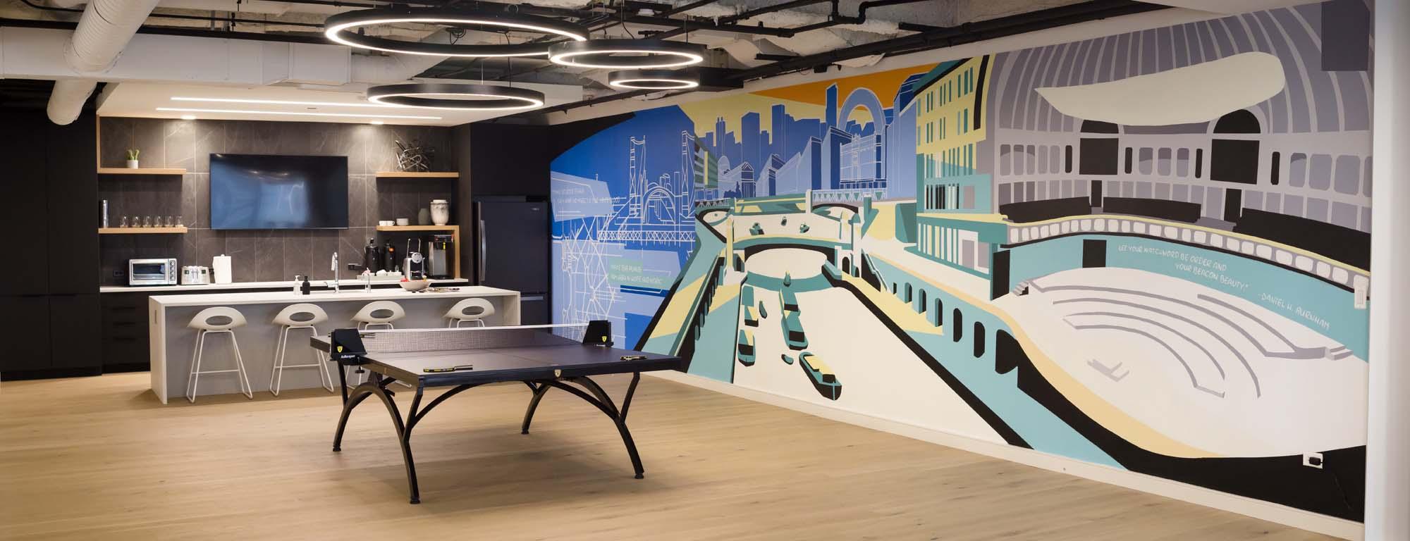 Chicago Interior Mural for Break Room in Office