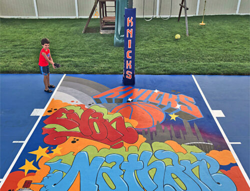 NY Knicks basketball court mural for Ethan and Nathan in New Jersey