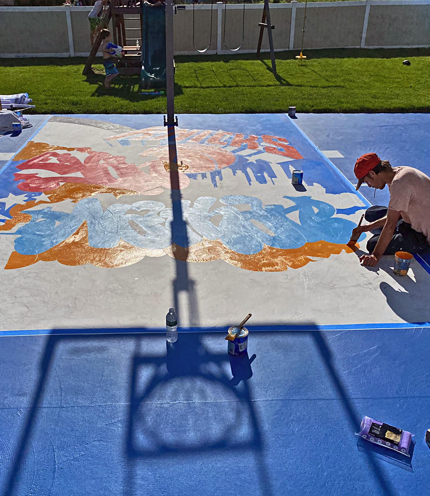 basketball court mural