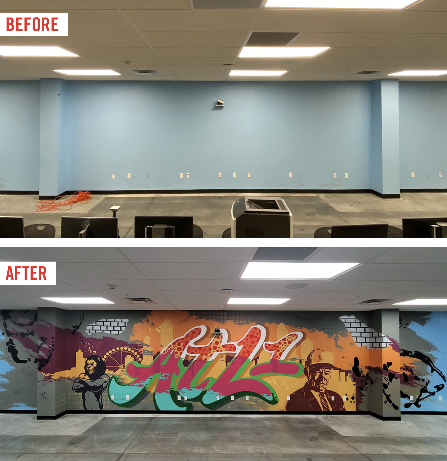before and after mural