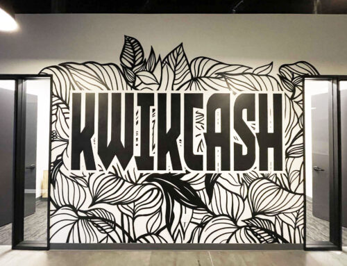 KwikCash Office – Black & White Mural