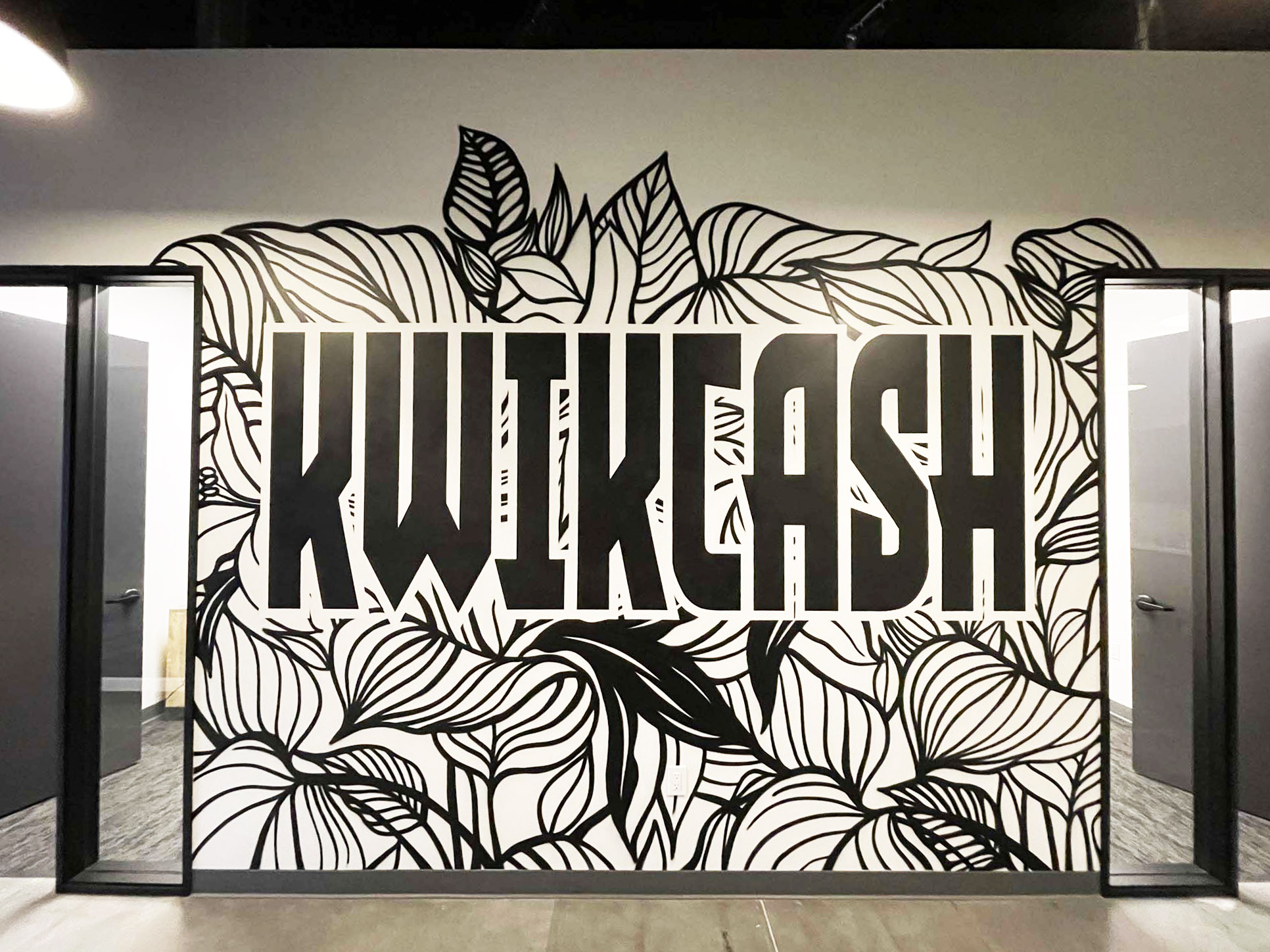 Black and White Mural for Office
