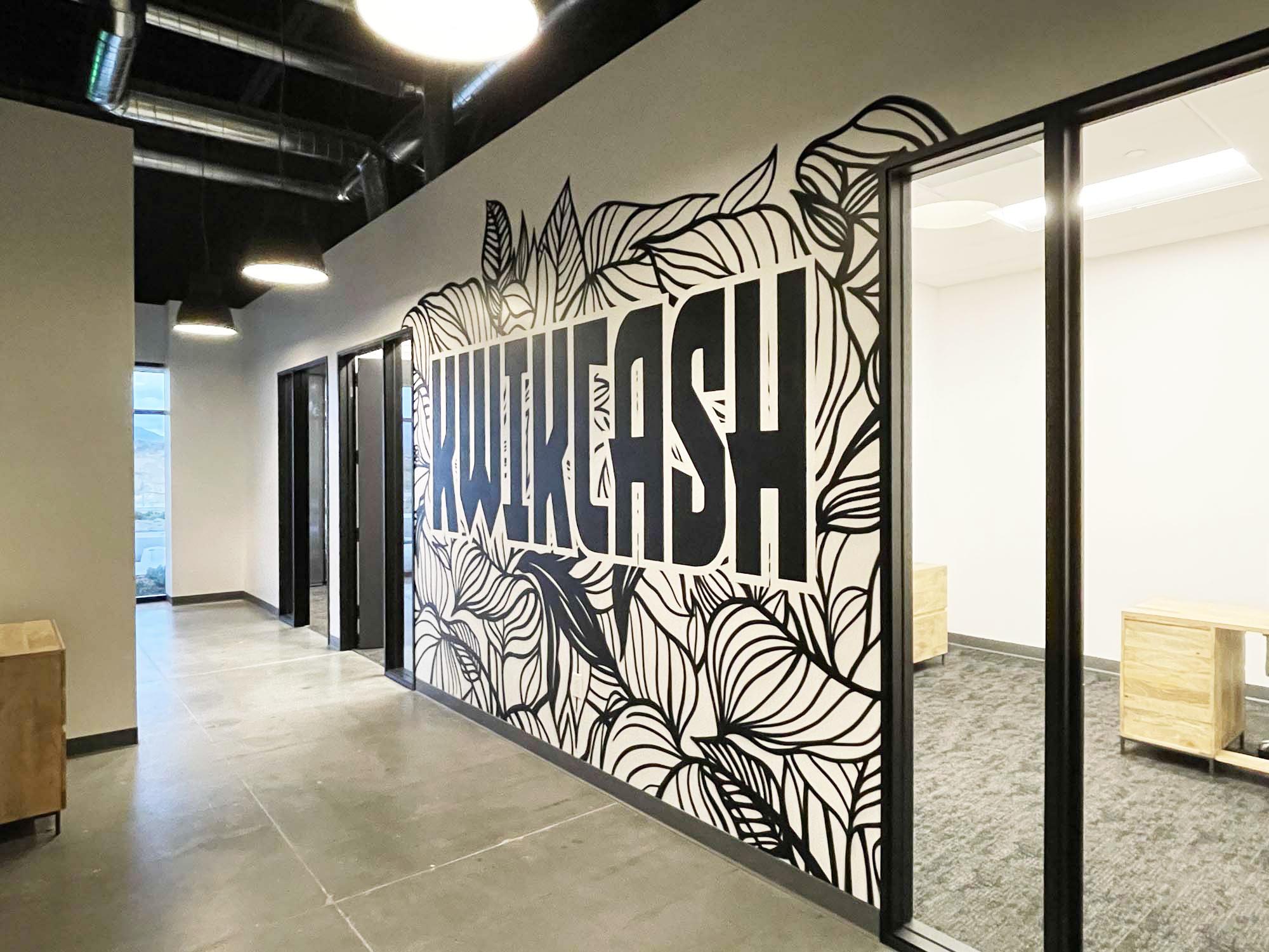 B&W Street Art Mural for KwikCash