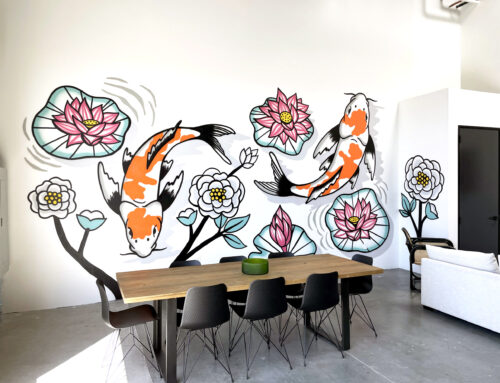 Koi Fish Mural Art in Orange County Warehouse Space