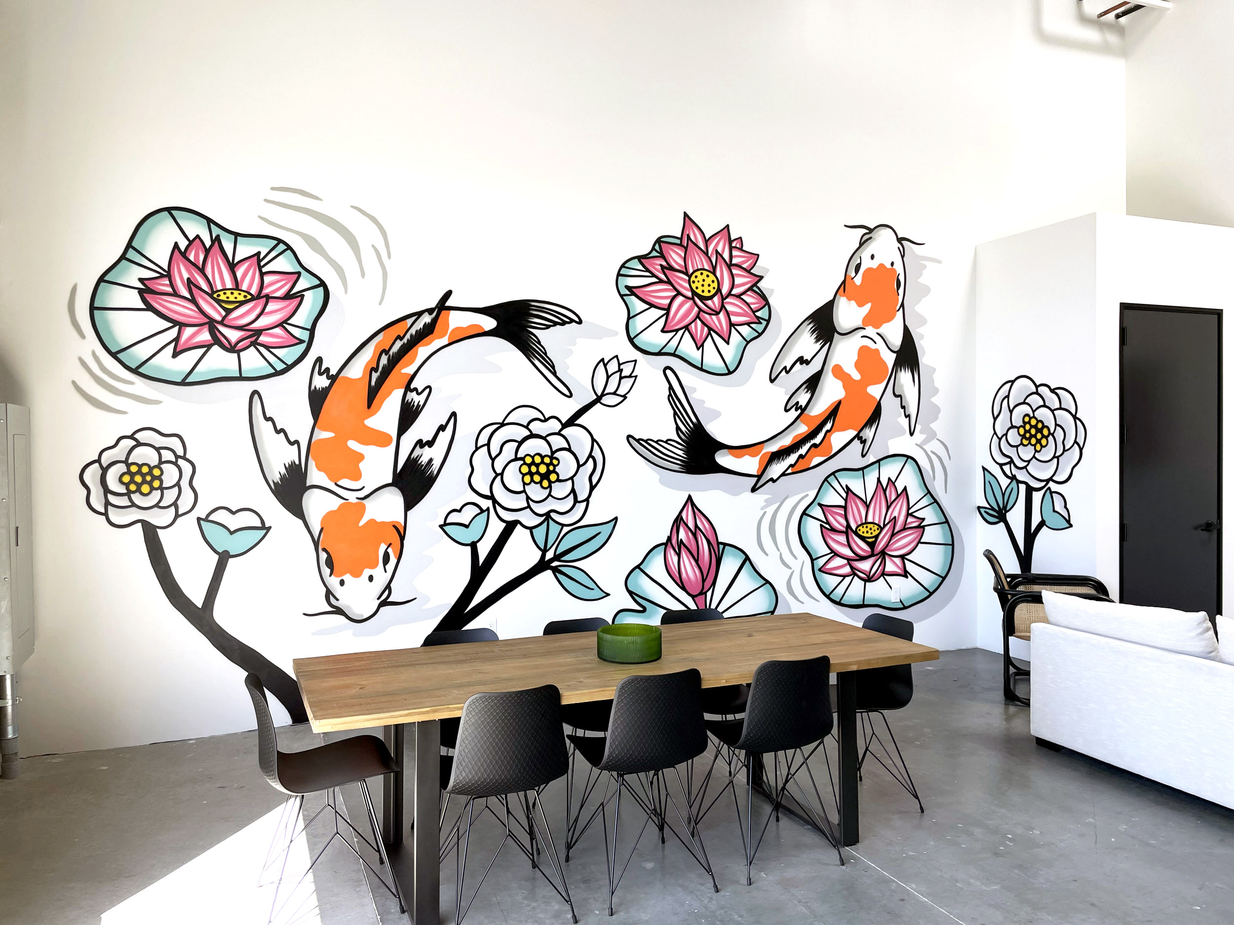 Koi Fish Mural for Office Space
