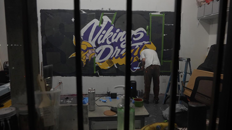 Custom canvas mural